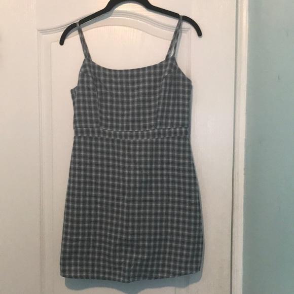 Blue grey plaid mini dress